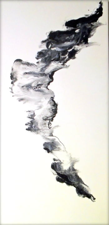 Dancing Thoughts - Painting,  48x24x1.5 in ©2019 by Holly Anderson -                                                                    Abstract Art, Contemporary painting, Minimalism, Abstract Art, black and white, abstract black and white, contemporary black and white, modern black and white, fluid painting, fluid acrylic, paint splash, paint splatter, fluid, organic, holly anderson fine art, nature wall art, industrial, contemporary, modern, fluid black and white, large wall art, large canvas, large canvas wall art, hotel art, lobby art, office art, 24x48, vertical painting