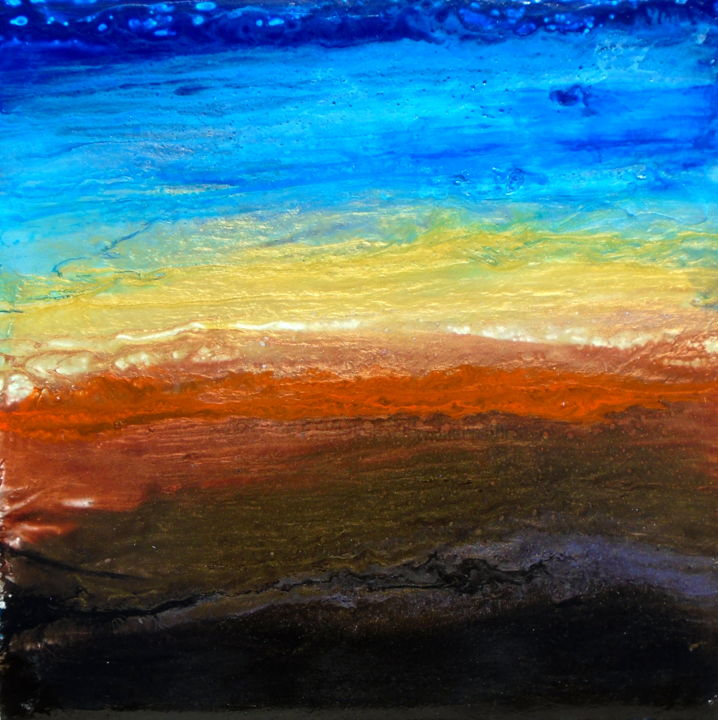 fluid poured earth tone sunset landscape DISCOVERY - Painting,  20x20x1.5 in ©2019 by Holly Anderson -                                                                    Abstract Art, Contemporary painting, Abstract Art, Landscape, large wall art, abstract painting, peintures abstraites, acrylique fluide, fluid acrylic, grand original, large abstract painting, art fluide, paysage abstrait, fluid painting, holly anderson artist, large wall art canvas, fluid art, contemporary art, abstract landscape, sunset painting, original sunset, desert painting, textured painting, painting