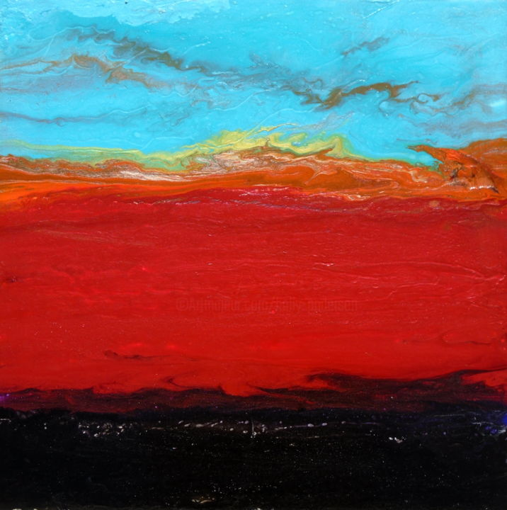 art fluide original sunset painting SUNYATA - Painting,  20x20x1.5 in ©2019 by Holly Anderson -                                                                                                        Abstract Art, Contemporary painting, Minimalism, Modernism, Abstract Art, Beach, Landscape, large wall art, abstract painting, peintures abstraites, wall art, peintures d'art fluide, fluid abstract painting, fluid acrylic, large abstract painting, art fluide, paysage abstrait, fluid art, contemporary art, sunset painting, abstract landscape, textured painting, acrylic pour painting, water painting, holly anderson art, blue painting, abstract art