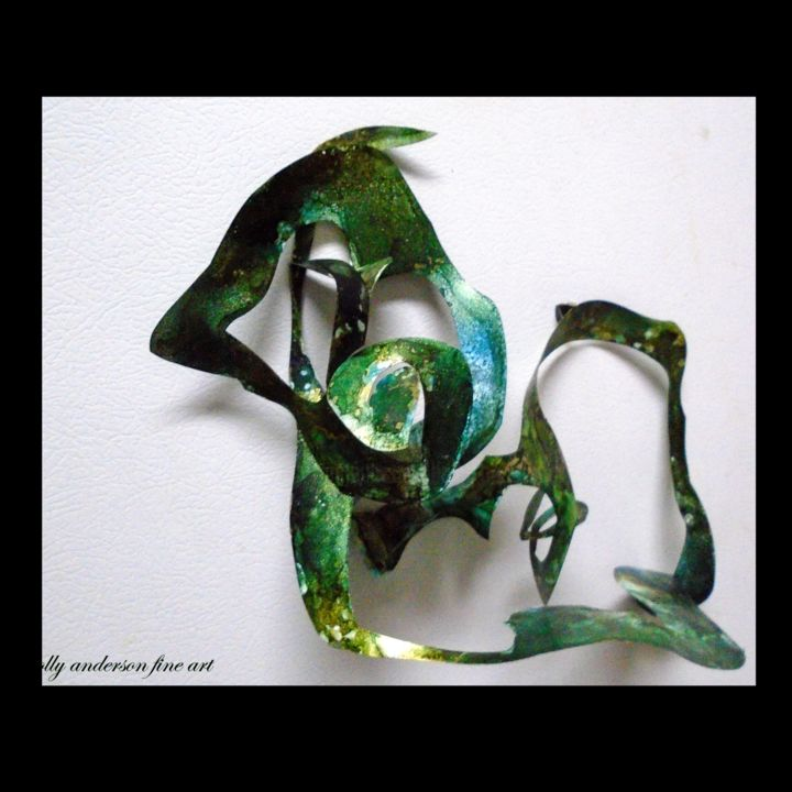 """Sculpture titled """"Alcohol Ink Art uni…"""" by Holly Anderson, Original Art, Plastic Mounted on Other rigid panel"""