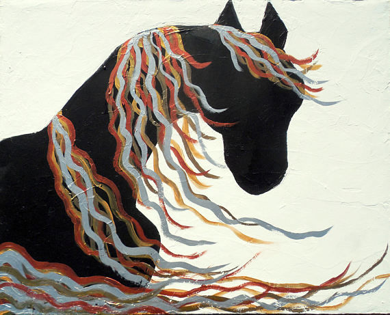 Original Contemporary Abstract Rustic Modern Horse Painting
