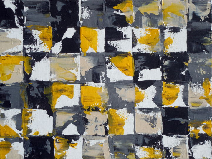 Yellow And Gray Abstract Painting Holly Anderson 24x30x1 5 In 2017