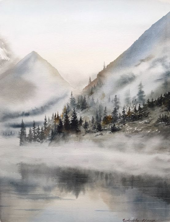 Foggy morning in the mountains - Painting,  46x35x0.1 cm ©2018 by Eugenia Gorbacheva -                                                                                                                                    Documentary, Figurative Art, Illustration, Impressionism, Realism, Paper, Mountainscape, Landscape, Nature, fog, foggy, misty, forest, mountains, mountain, landscape, artwork, Eugenia Gorbacheva, mountainscape, watercolor, watercolors