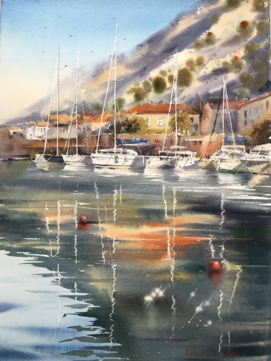 Yacht Reflection - Peinture,  15x20,9 in, ©2019 par Eugenia Gorbacheva -                                                                                                                                                                                                                                                                                                                                                                                                                                                                                                                                                                                                                                                                                                                                                                                                                                                                                                                                                                                                                                                                                                                                                                                                                                                                              Figurative, figurative-594, Eau, Navires, Bateau, Paysage marin, Yacht, sail, sails, yacht, yachts, boat, boats, sea, seascape, seascapes, Watercolor, Watercolors, Watercolour, sailing, cloud, clouds, nautical, glare, sun, painting, paintings
