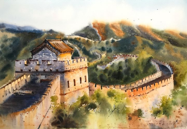 GreatWall, China - Custom order - Живописец,  15x22,1 in, ©2019 - Eugenia Gorbacheva -                                                                                                                                                                                                                                                                                                                                                                                                                                                                                                                                                                                                                                                                                                                                                                                                                                                                                                              Figurative, figurative-594, Места, Мировая культура, Природа, Путешествие, Стена, painting, paintings, trees, wall, watercolor, watercolors, watercolour, watercolours, china, great, landscape, landscapes