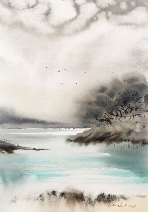 Northern seascape #1 - Peinture,  16,5x11,4 in, ©2019 par Eugenia Gorbacheva -                                                                                                                                                                                                                                                                                                                                                                                                                                                                                                                                                                                                                                                                                                                                                                                                                                                                                                                                                                                                                                                                                                                                                                                                                                  Abstract, abstract-570, Lieux, Paysage marin, Paysage, Nature, Voyage, painting, paintings, watercolour, watercolours, reflection, reflections, ice, gray, nordic, ocean, sea, seascapes, seascape, turquoise, wave, waves, бирюза, grey, серый