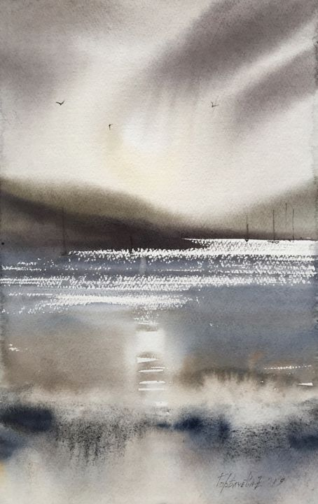 Northern seascape #3 - Peinture,  13,4x8,7 in, ©2019 par Eugenia Gorbacheva -                                                                                                                                                                                                                                                                                                                                                                                                                                                                                                                                                                                                                                                                                                                                                                                                                                                                                                                                                                                                                                                                                                                                                                                                                                                                              Abstract, abstract-570, Eau, Navires, Bateau, Paysage marin, Yacht, painting, paintings, watercolour, watercolours, reflection, reflections, gray, nordic, ocean, oceans, seascape, seascapes, sea, wave, waves, grey, brown, sail, sails, yacht