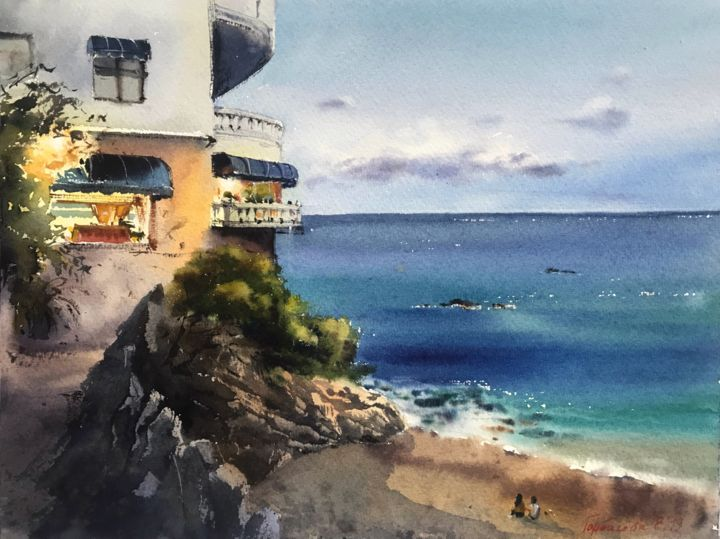 Hotel on the beach, Spain - © 2019 cliff, cliffs, coast, coasts, painting, paintings, reef, reefs, rock, rocks, seascape, seascapes, watercolor, watercolors, watercolour, watercolours Œuvres-d'art en ligne