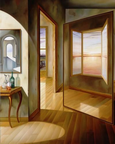 Sunset Illusion - Painting,  39.4x31.9x0.4 in, ©2004 by Homero Aguilar -