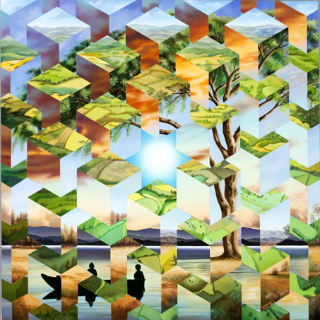 imposible-imagen.jpg - Painting,  39.4x39.4x0.8 in, ©2016 by Homero Aguilar -                                                                                                              Geometric, oleo.rompecabezas