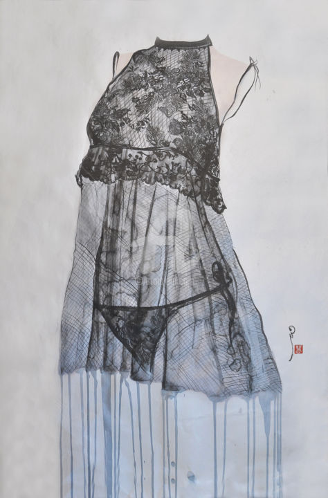 Anais - Peinture,  37,4x26 in, ©2014 par Hong Wai -                                                                                                                                                                                                                                                                                                                                      silver, xuan, paper, ink, contemporary, art, color