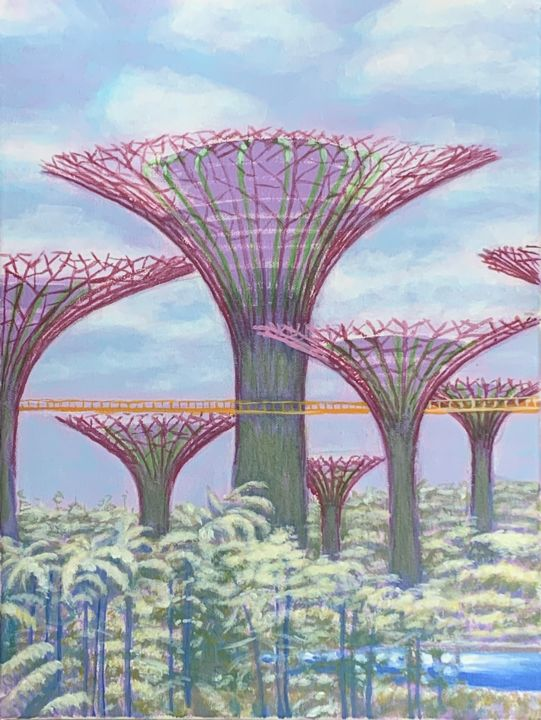 """Painting titled """"garden by the bay"""" by Jin Hong, Original Art, Acrylic"""