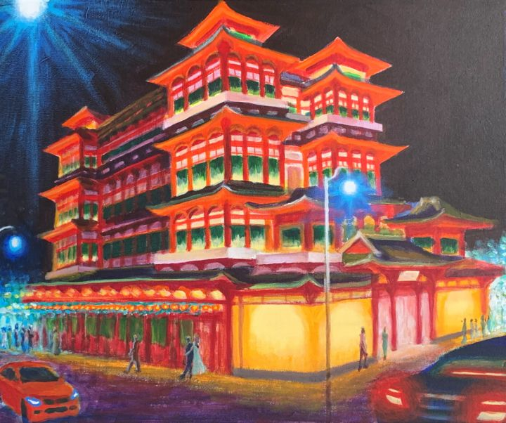"""Painting titled """"Buddha Tooth Relic…"""" by Jin Hong, Original Art, Acrylic"""