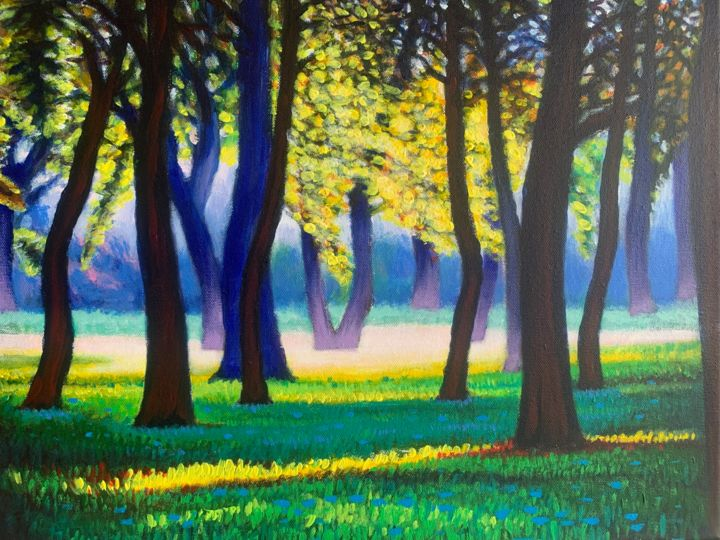 """Painting titled """"TREE AND SUNSHINE"""" by Jin Hong, Original Art, Acrylic"""