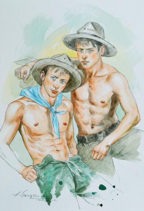 Cowboys - Painting,  10x7x0.1 in, ©2019 by Hongtao Huang -                                                                                                                                                                                                                                                                                                                                                                                                                                                                                                                                                                                          Classicism, classicism-933, Men, Nude, People, Portraits, male nude, men, cowboy, watercolor, painting, hongtao huang