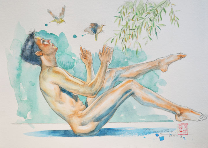 Birds - Painting,  7x10 in, ©2019 by Hongtao Huang -                                                                                                                                                                                                                                                                                                                                                                                                                                                                                                                                                                                                                                                                                                                              Figurative, figurative-594, Birds, Body, Erotic, Men, Nude, male nude, man, birds, naked, gay, watercolor, painting, original art