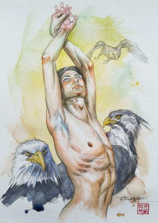 watercolour painting man nude -Eagle - Pittura,  10x7 in, ©2019 da Hongtao Huang -                                                                                                                                                                                                                                                                                                                                                                                                                                                                                                                                                                                                                                                                                  Figurative, figurative-594, Animali, Uomini, Nudo, Persone, erotic art, male nude, man, gay, naked, watercolor, painting, on paper