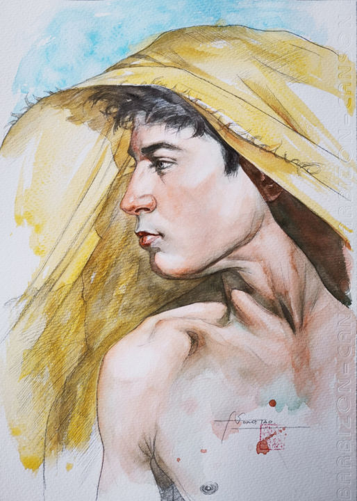 Watercolor Portrait of Young man #20220 - Painting,  10x7x0.1 in, ©2020 by Hongtao Huang -                                                                                                                                                                                                                                                                                                                                                                                                                                                                                                                                              Pop Art, pop-art-615, Men, People, Portraits, watercolor, painting, young man, on paper, original art, Hongtao Huang