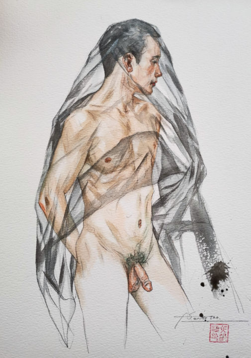 Transparent - Painting,  10x7x0.1 in, ©2020 by Hongtao Huang -                                                                                                                                                                                                                                                                                                                                                                                                                                                                                                                                                                                          Classicism, classicism-933, Erotic, Men, Nude, People, male nude, naked man, gay, watercolor, painting, hongtao huang
