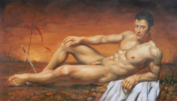 Oil painting male nude -Sword - Painting,  10x18x0.1 in, ©2016 by Hongtao Huang -                                                                                                                                                                                                                                                                                                                                                                                                                                                                                                                                                                                                                                                                                  Classicism, classicism-933, People, Erotic, Men, Nude, hongtao huang, oil painting, original artwork, male nude, naked, sword, on linen, gay
