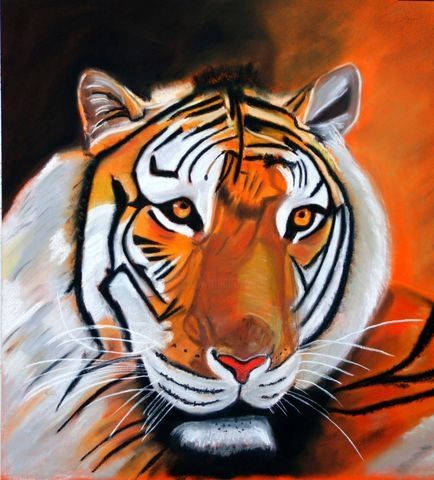 tigre - Painting,  50x50 cm ©2008 by QUEAU -
