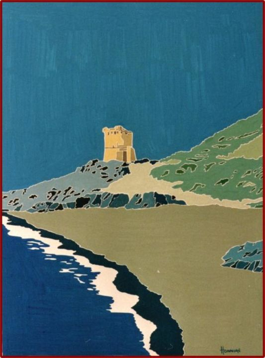 Tour genoise - Painting,  25.6x19.7 in, ©1998 by Vincent Honnore -