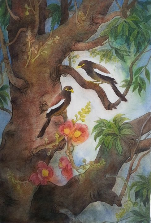 """Painting titled """"Shawl birds"""" by Horendra Nath Ray Indra, Original Art, Watercolor"""