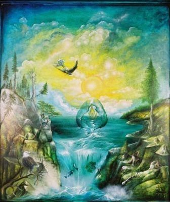 """Painting titled """"The vision of the e…"""" by Horst G. Loewel, Original Art, Oil"""