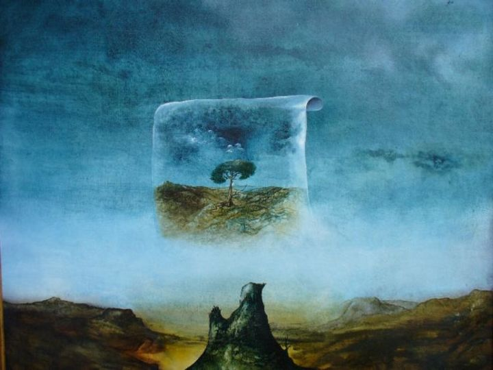 """Painting titled """"Dream of a stump"""" by Horst G. Loewel, Original Art, Oil"""