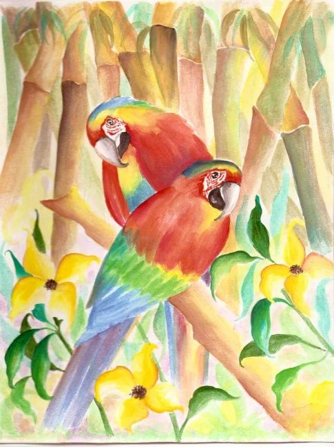 parrots water color - Painting,  10.2x8.3 in, ©2007 by Gunaroopam Raja -