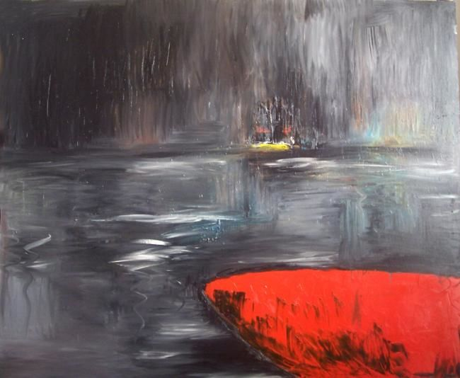 Red boat - Painting,  59.1x70.9 in, ©2008 by Dan Huang -