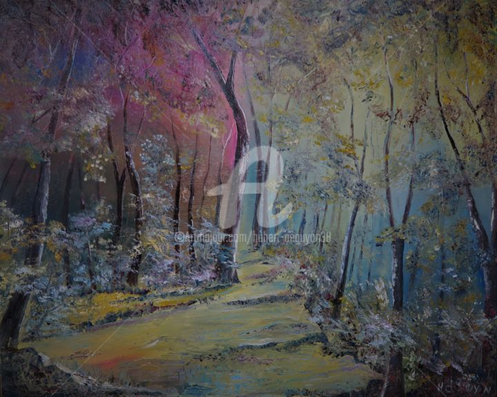 Sous bois - Painting,  600x730x3 cm ©2018 by Hubert de Guyon -                                                        Figurative Art, Canvas, Landscape