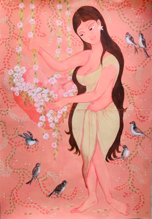 """Painting titled """"A TALE FROM THE SPA…"""" by Hiranya Ranawake, Original Art, Gouache"""