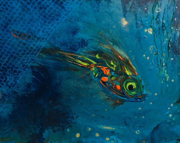 Just keep swimming - Peinture,  9,5x11,8 in, ©2019 par hugues boucry -                                                                                                                                                                                                                      Abstract, abstract-570, Eau, Poisson