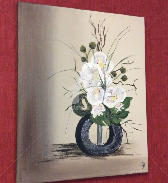 orchidées blanches - Painting,  50x40x1.8 cm ©2019 by HD-CREATION -                                                                        Contemporary painting, Cotton, Flower, Nature, toile orchidees, zen, fleurs blanches, douceur, fleurs tendres, tableau orchidees