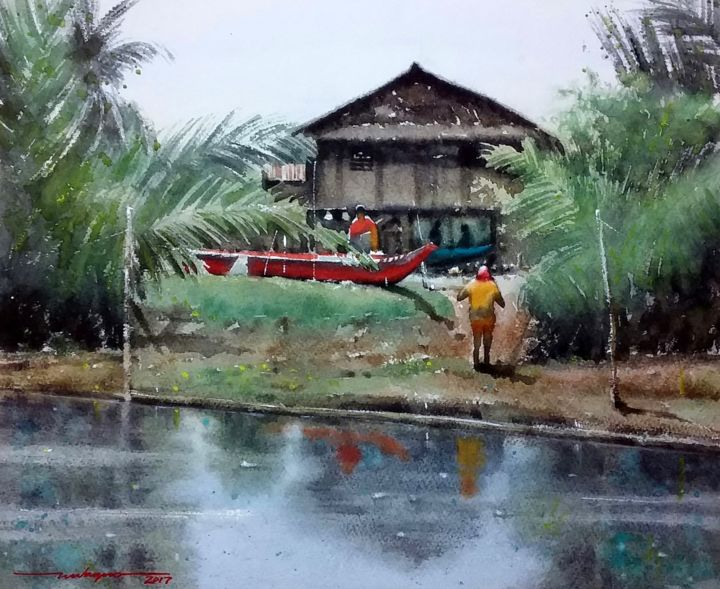 """Painting titled """"""""Break Time"""""""" by Gieward Hulagno, Original Art, Watercolor"""