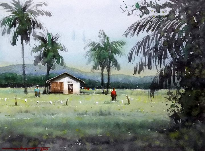 """Painting titled """"""""Farmers Home"""""""" by Gieward Hulagno, Original Art, Watercolor"""