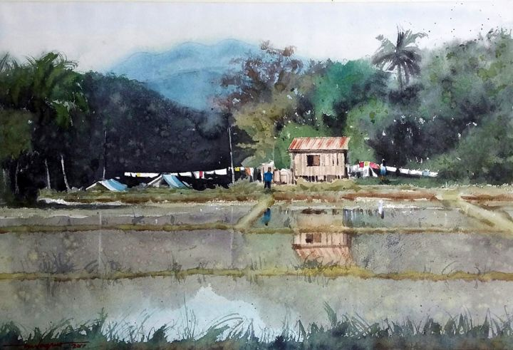 """Painting titled """"""""Laundry Day"""""""" by Gieward Hulagno, Original Art, Watercolor"""