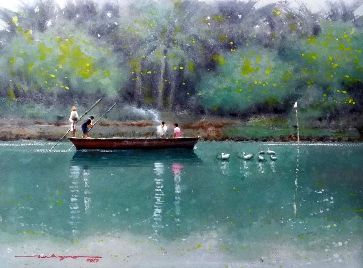 """Painting titled """"""""River Life"""""""" by Gieward Hulagno, Original Art, Watercolor"""