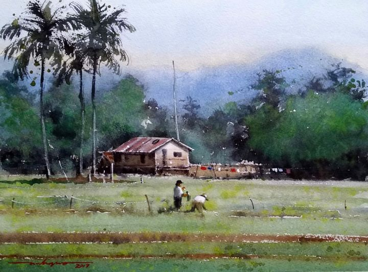 """Painting titled """"""""Maintenance"""""""" by Gieward Hulagno, Original Art, Watercolor"""