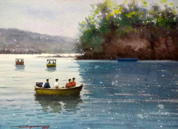 """Painting titled """"""""Sunday Boating"""""""" by Gieward Hulagno, Original Art, Watercolor"""