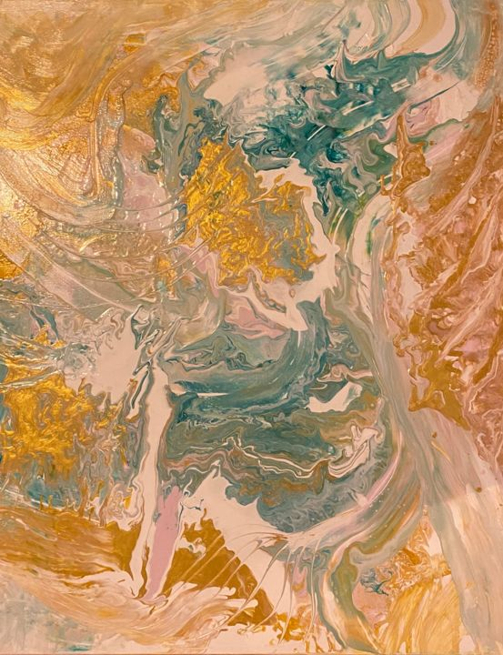 """Painting titled """"Acryl pour no. 7"""" by Hulin Contin, Original Art, Acrylic"""