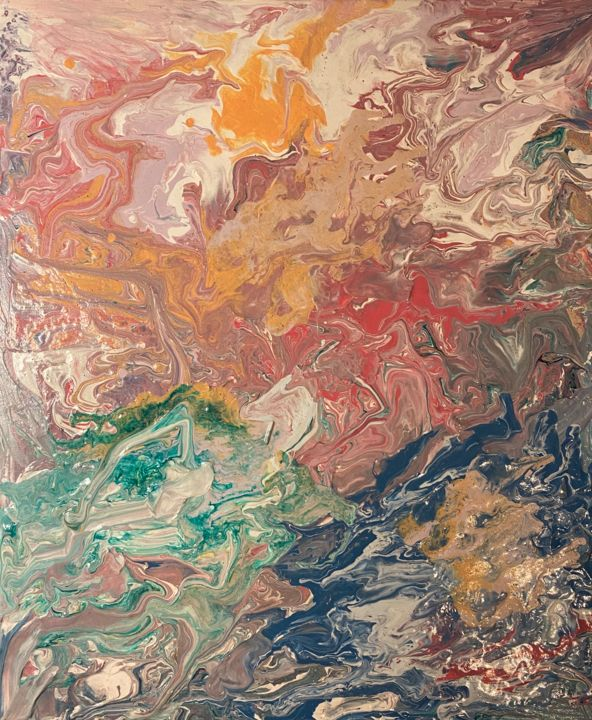 """Painting titled """"Acrylic pour no. 1"""" by Hulin Contin, Original Art, Acrylic"""