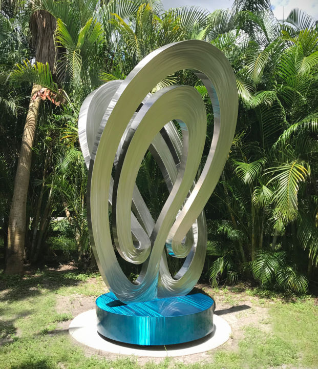 mobius-sculpture.jpg - Sculpture,  144x96x7 in, ©2018 by Hunter Brown -                                                                                                                                                                                                                                                                                                                                                                                                                                                                                                                                                                                                                                                                                                                                                                                                                                                                                                                                                                                                          Abstract, abstract-570, Stainless Steel, Abstract Art, modern, metal sculpture, stainless steel, contemporary, large, outdoor, sculpture garden, public sculpture, commission, blue, abstract, design, architectural, art deco, florida, california, gallery