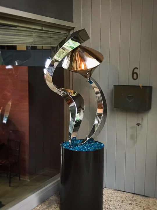 Celestial - Sculpture,  80x32x20 in, ©2020 by Hunter Brown -                                                                                                                                                                                                                                                                                                                                                                                                                                                                                                                                                                                                                                      Abstract, abstract-570, Abstract Art, mirror polishe sculpture, stainless steel, modern sculpture, bronze, free standing, interior, outdoor, reflective metal sculpture, contemporary, mobius