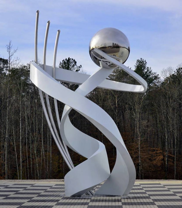 Torque - Sculpture,  300x192x140 in, ©2018 by Hunter Brown -                                                                                                                                                                                                                                                                                                                                                                                                                                                                                                                                                                                                                                                                                  Abstract, abstract-570, Abstract Art, public sculpture, modern sculpture, metal, stainless steel, monumental, large, site specific sculpture, commission, luxury, contemporary, movement
