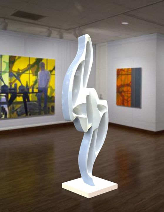 Harmony - Sculpture,  96x42x14 in, ©2020 by Hunter Brown -                                                                                                                                                                                                                                                                                                                                                                                                                                                                                                                                                                                                                                                                                                                              Abstract, abstract-570, Abstract Art, modern sculpture, metal sculpture, stainless steel, contemporary, white, large, outdoor, indoor, free standing, pearl, art deco, art gallery