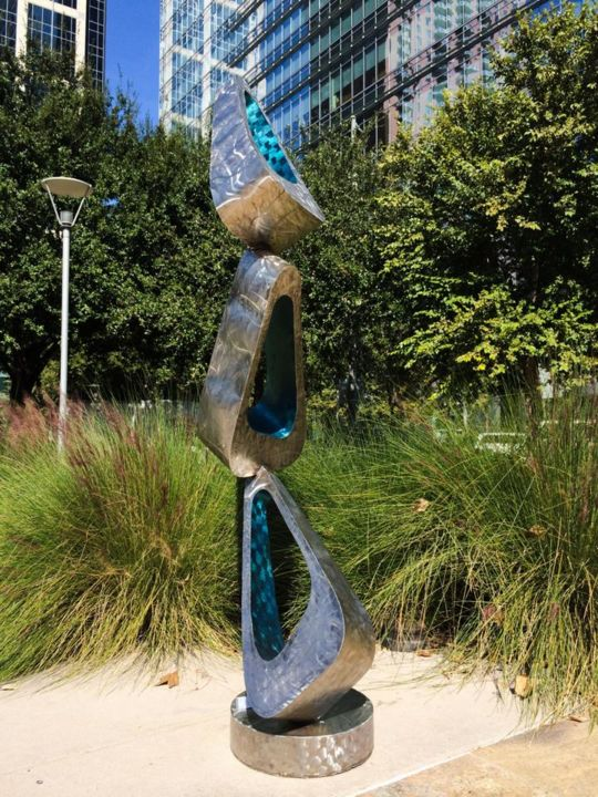flux - Sculpture,  96x30x22 in, ©2015 by Hunter Brown -                                                                                                                                                                                                                                                                                                                                                                                                                                                                                                                                                                                                                                                                                                                                                                                                                                                                                                                                                                                                                                                                                                                                              Abstract, abstract-570, Stainless Steel, Abstract Art, modern, contemporary, sculpture, steel, metal, fine art, geometric, abstract, outdoor, indoor, landscape, luxury, blue, corporate, public, urban, decor, art deco, monument, unique