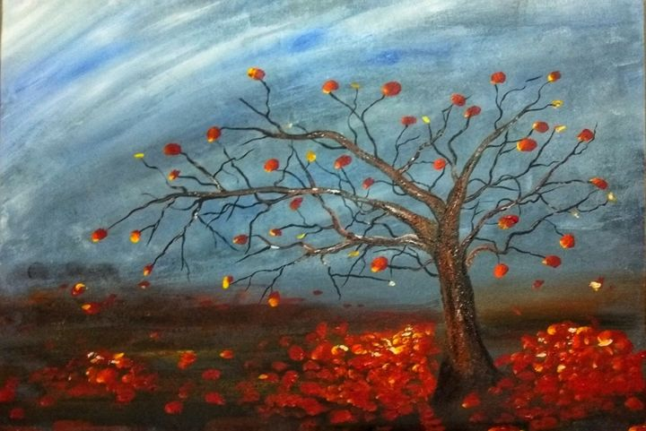 """Painting titled """"Welcoming Winter"""" by Sabbir Hussain, Original Art, Acrylic Mounted on Wood Panel"""