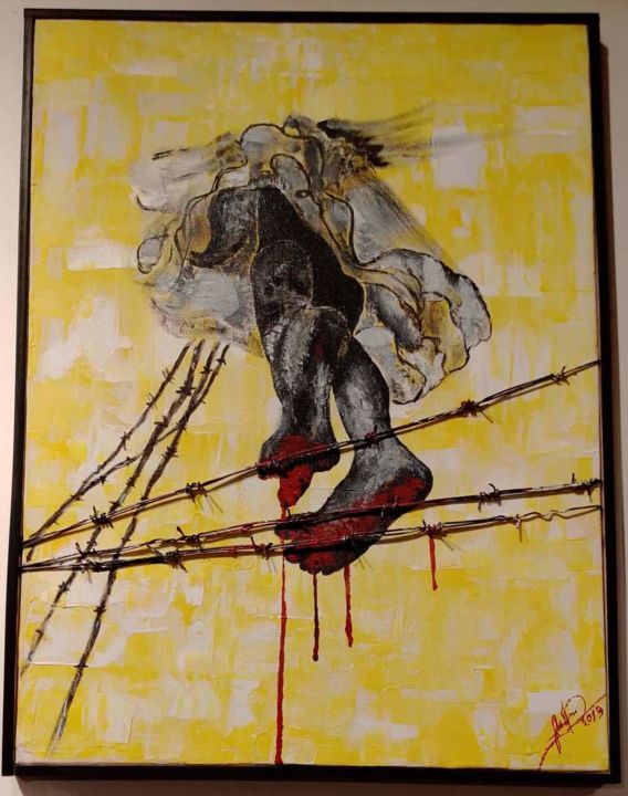 """Painting titled """"pain cant ignore"""" by Sabbir Hussain, Original Art, Acrylic"""
